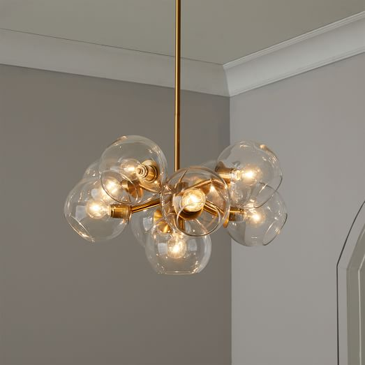 Staggered Glass Chandelier 9 Light