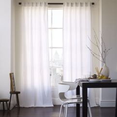 White Curtains For Living Room Wall Colors With Brown Leather Furniture Cotton Canvas Curtain West Elm