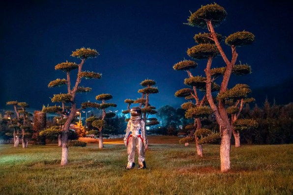 Spaceman standing in a park at night