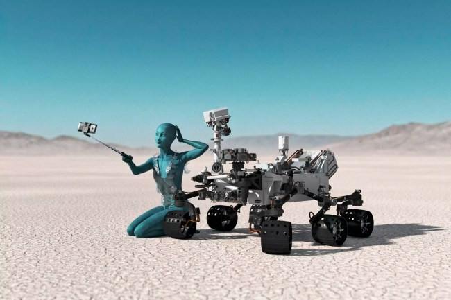 Futuristic woman posing for cell phone selfie in desert