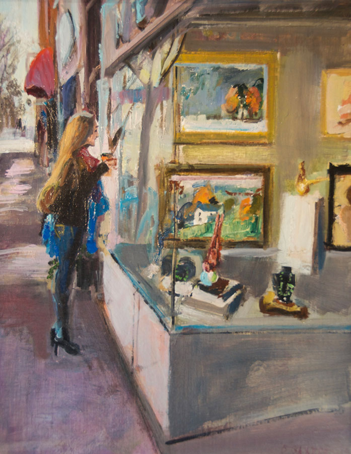 "Bruce Baxter ""Window Shopping"" 20x16 oil $900."