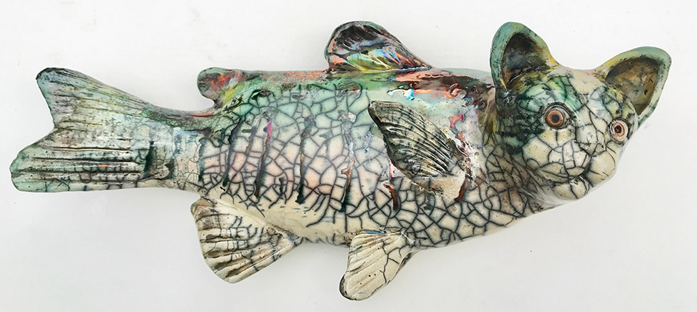 "Alan and Rosemary Bennett ""Cat Fish"" 7.5x16 clay $250."