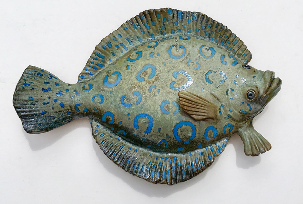 "Alan and Rosemary Bennett ""Peacock Flounder"" 8.5x12 clay $195."