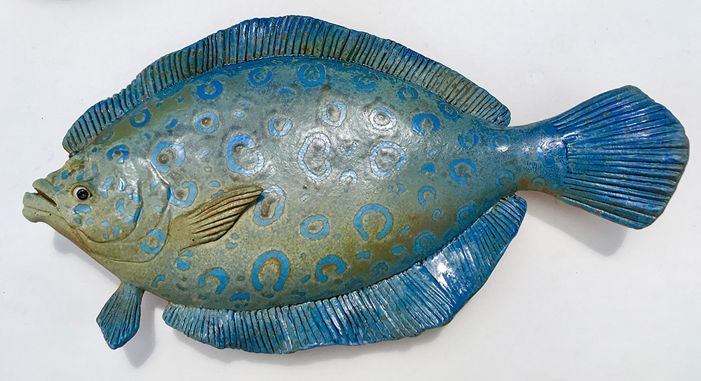 "Alan and Rosemary Bennett ""Peacock Flounder"" 10.5x19 clay $350."