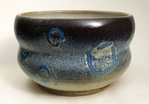 "Alan and Rosemary Bennett ""Peacock Flounder Bowl"" 5x7.5 clay $225."
