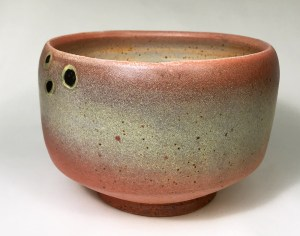 """Alan and Rosemary Bennett """"Red Drum Bowl"""" 4x5.5 clay $85."""