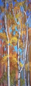 "Anne L. Bialke ""Birches in Party Dress"" 31.5x12 oil $800."