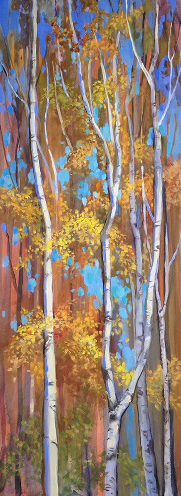 "Anne L. Bialke ""Birches in Party Dress"" 31.5x12 oil $800."