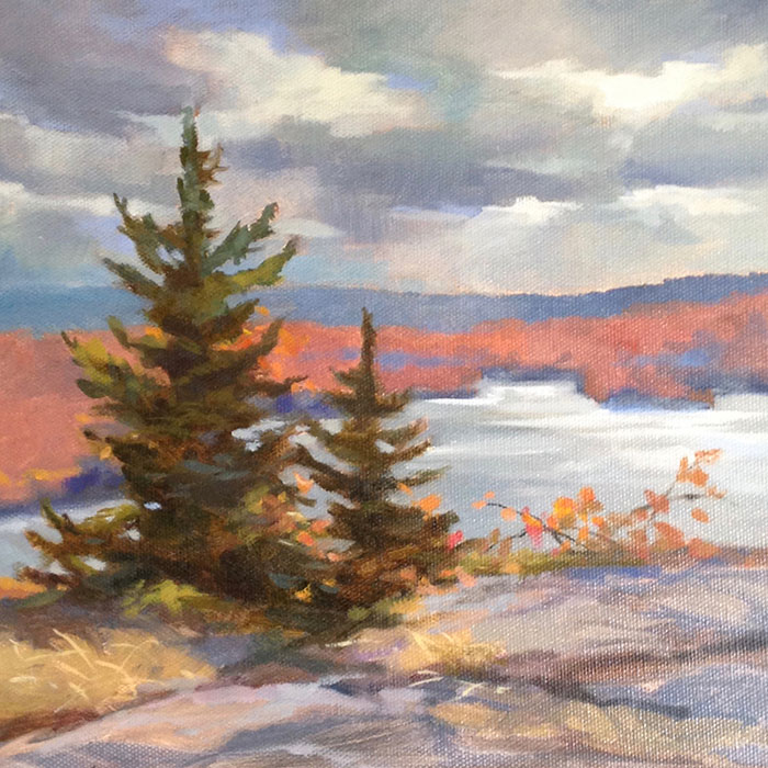 "Anne L. Bialke ""From the Promontory"" 10x10 oil $350."