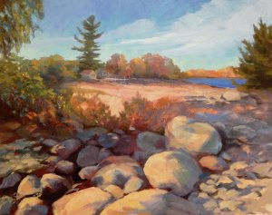 "Anne L. Bialke ""October Sun, Adirondacks - Standing Fast"" 20x24 oil $950."