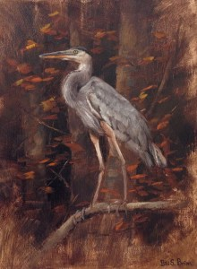 "Bibi S. Brion ""Blue Heron"" 12x9 oil $250."