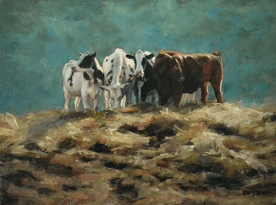 "Bibi S. Brion ""Happily Grazing"" 9x12 oil $750."