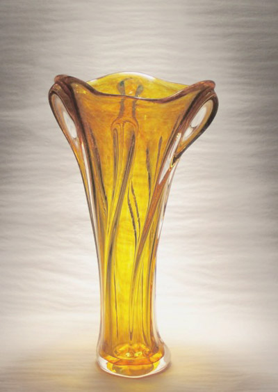 "David Buck ""Brilliant Gold Organic Vase"" 11"" tall soda/lime glass $100."