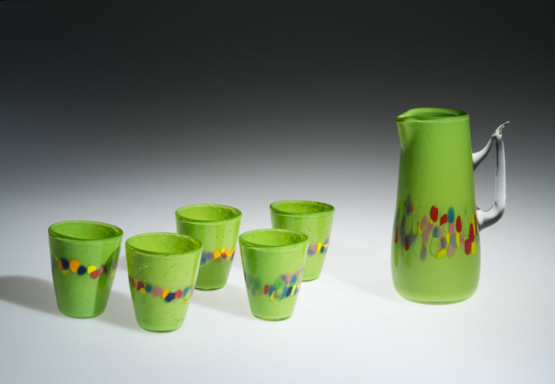 "David Buck ""Granny Green 6 Tumblers and Pitcher"" blown glass $235. set Inquire on pitcher shape"