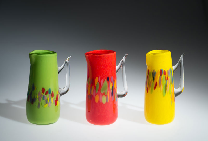 "David Buck ""Granny Green, Red and Canary Yellow"" (shown L-R) blown glass $125."