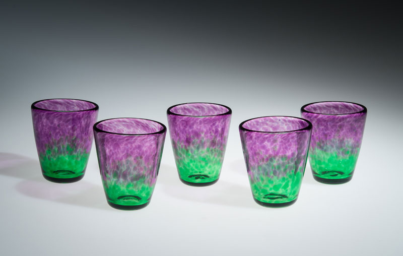 "David Buck ""Translucent Purple and Green Tumblers"" blown glass $20. each"