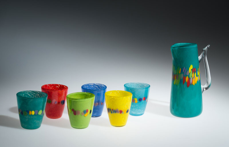 "David Buck ""Turquoise 6 Tumblers and Pitcher"" blown glass $235. set Inquire on pitcher shape"