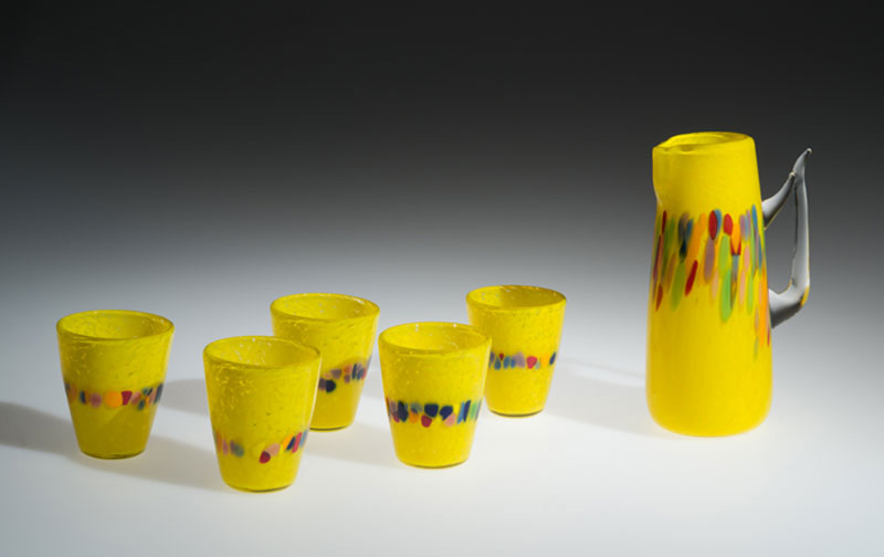 "David Buck ""Canary Yellow 6 Tumblers and Pitcher"" blown glass $235. set Inquire on pitcher shape"