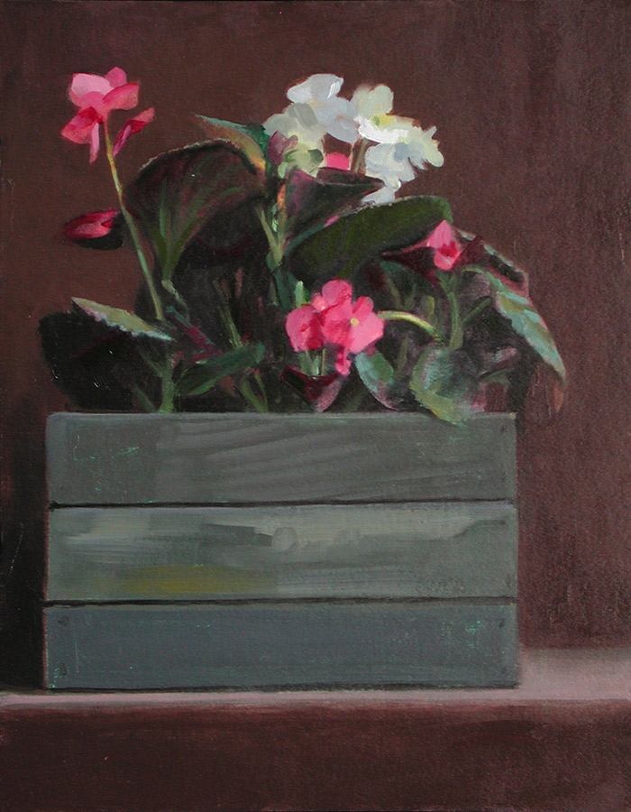 "Thomas S. Buechner ""Begonias in a Box"" 14x11 oil $2,570. SOLD"