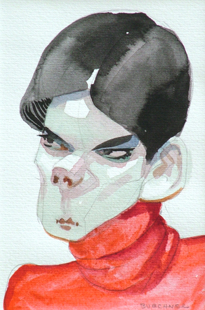 "Thomas S. Buechner ""Anger"" 6x4 watercolor $950."