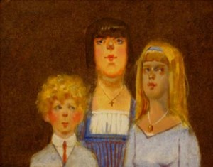 "Thomas Buechner ""English Kids and Governess"" 11x14 oil $2,500"