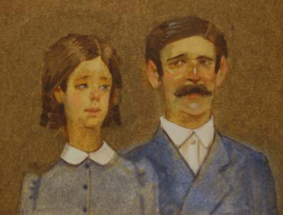 """Thomas S. Buechner """"Immigrant Couple"""" 11x14 oil $2,450"""
