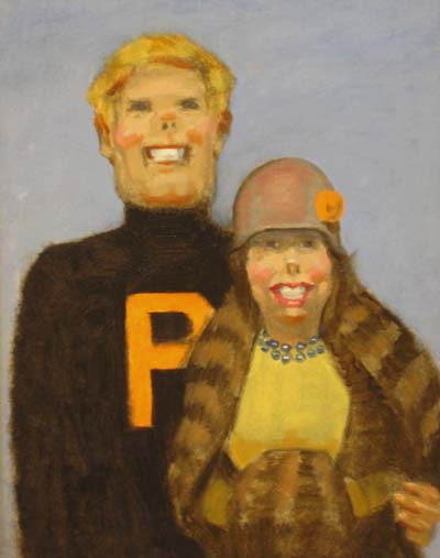 "Thomas S. Buechner ""Princeton Couple - 1920s"" 14x11 oil $2,500"