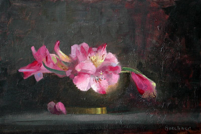 "Thomas S. Buechner ""Phillipean Lilies in Brass Bowl"" 8x12 oil $2,310. SOLD"