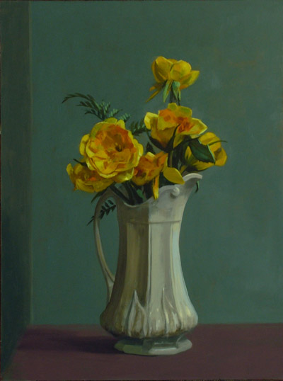 "Thomas S. Buechner ""Yellow Roses, White Pitcher"" 24x18 oil $4,390."