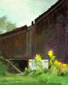 """Thomas S. Buechner """"Barn and Yellow Flowers"""" 10x8 oil $2,070."""