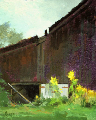 "Thomas S. Buechner ""Barn and Yellow Flowers"" 10x8 oil $2,070."