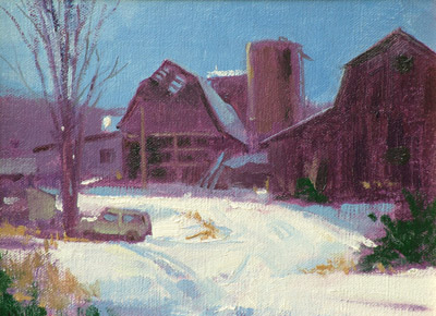 "Thomas S. Buechner ""Barn Exit 30"" 6x8 oil $1,300."