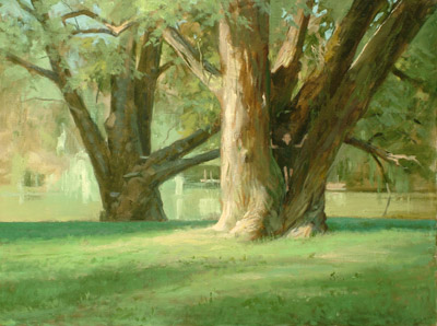 "Thomas S. Buechner ""Denison Park, Boy in Tree"" 18x24 oil framed $4,390."