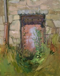 "Thomas S. Buechner ""Door in a Stone Wall"" 14x11 oil $2,570."
