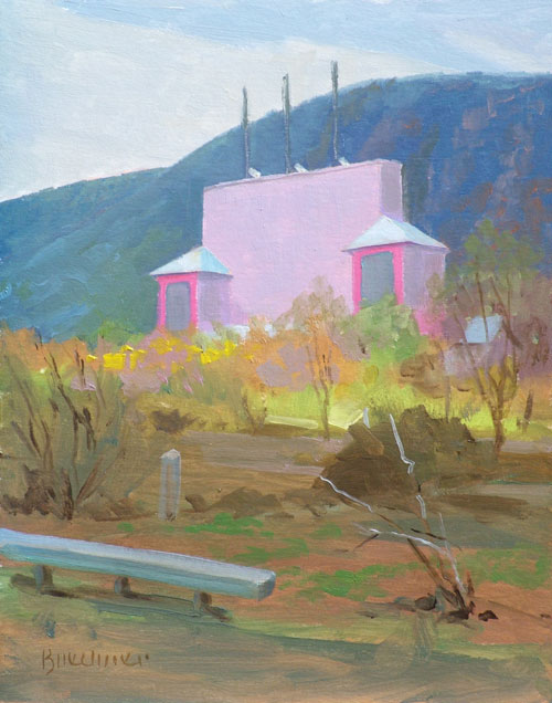 "Thomas S. Buechner ""Elmira Drive-In"" 10x8 unframed oil $1,870"