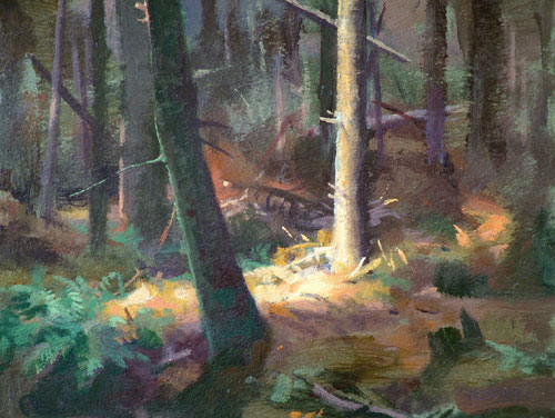 "Thomas S. Buechner ""Forest Sunlight"" 8x10 unframed oil $1,870."
