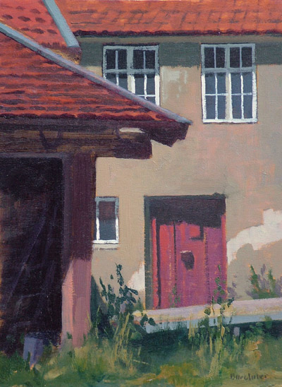 "Thomas S. Buechner ""Frauenau Courtyard Factory Door"" 12x9 oil $2,410."