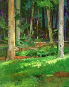 """Thomas S. Buechner """"Into the Woods"""" 10x8 unframed oil $1,870."""