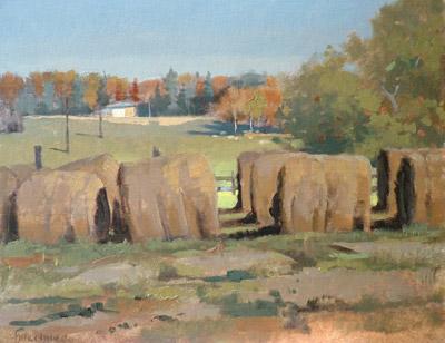 "Thomas S. Buechner ""Lapp's Hay Bales"" 11x14 oil $2,570."