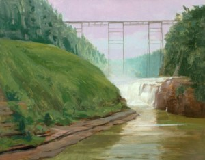 "Thomas S. Buechner ""Letchworth Falls"" 11x14 oil framed $2,500."