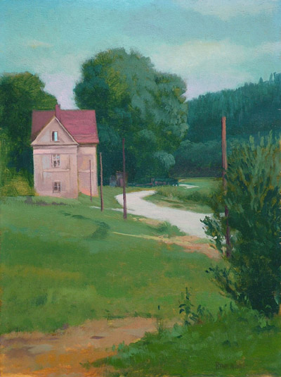 "Thomas S. Buechner ""Lonely House II"" 12x9 unframed oil $2,310."