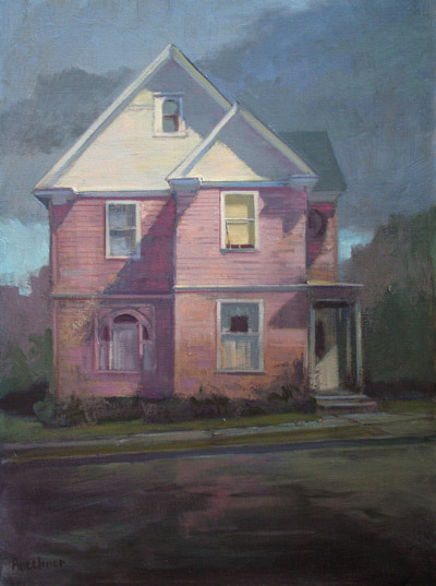 "Thomas S. Buechner ""Pink House Rainy Afternoon"" 24x18 oil $4,050."