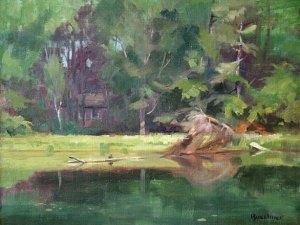 """Thomas S. Buechner """"Spencer Hill Pond"""" oil 11x14 framed $2,500."""