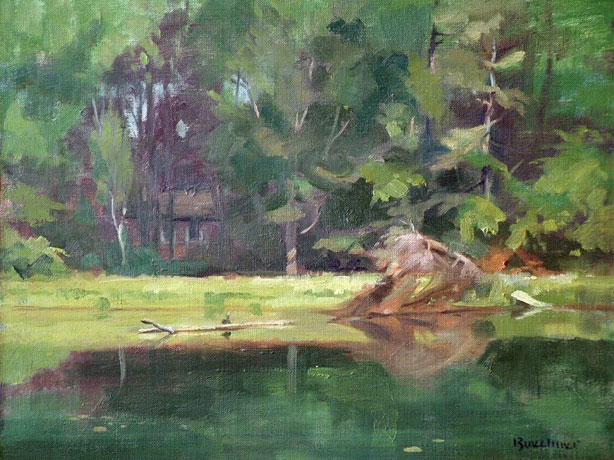"Thomas S. Buechner ""Spencer Hill Pond"" oil 11x14 framed $2,500."