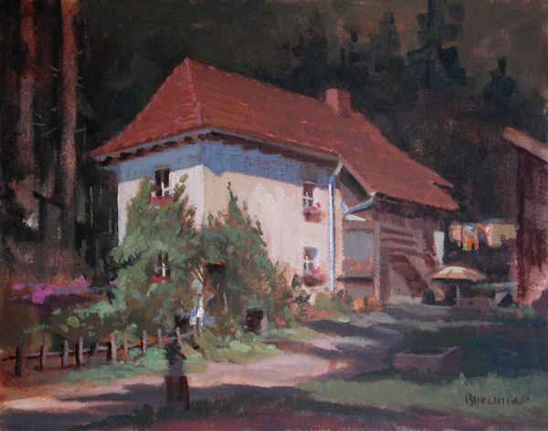 "Thomas S. Buechner ""Toby's House"" 11x14 unframed oil $2,420."