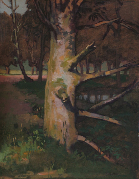 "Thomas S. Buechner ""Tree by Poshingers"" 14x11 unframed oil $2,420."