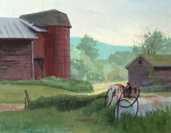 "Thomas S. Buechner ""Welles Gas Tanks"" 11x14 unframed oil $2,420."