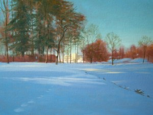 """Thomas S. Buechner """"Winter View of CCC"""" 18x24 oil $4,390."""
