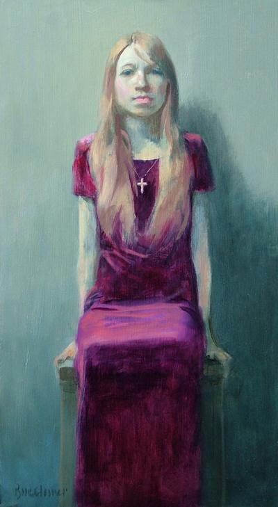 """Thomas Buechner """"Ada Reigle II"""" 20x11 oil framed $3,030."""