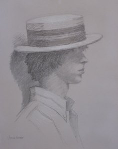 "Thomas S. Buechner ""Boy in Straw Hat"" 20x16 framed charcoal $2,000."